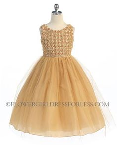 Girls Dress Style D740- Sleeveless Tulle Dress with Floral Bodice