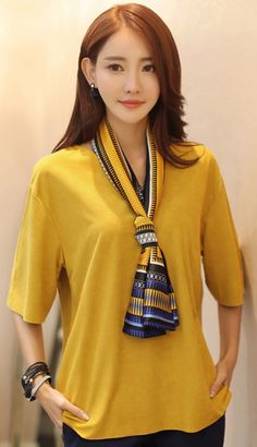 StyleOnme_Loose Fit Suede V-Neck Blouse with Scarf #mustard #yellow #loosefit #suedeblouse #scarf #chic #fallfashion #koreanstyle #seoul #trend