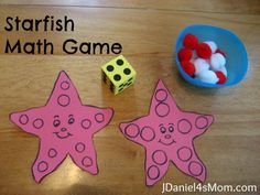 Starfish Math Game- I would write numbers in each of the circles so they could only put a pom pom if that number was there....or use 2 dye and they have to find the sum in one of the circles...