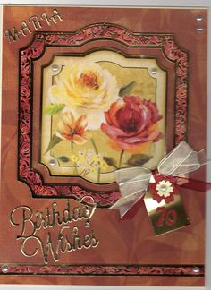 Hunkydory Radiant Roses 70th Birthday card, tattered lace numbers and greeting