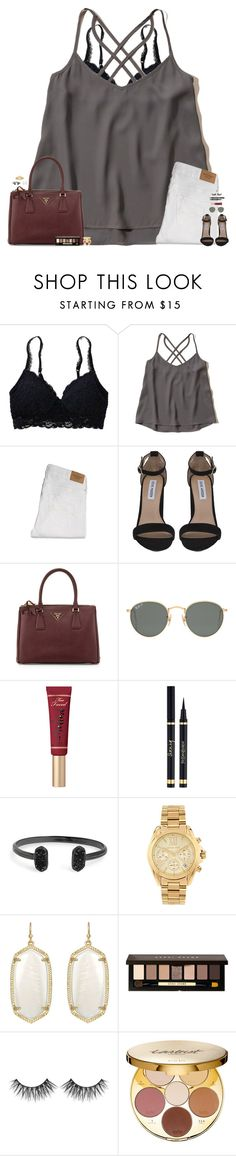 """•I'm so perplexed with just one breath, I'm locked in•"" by maggie-prep ❤ liked on Polyvore featuring Aerie, Hollister Co., Abercrombie & Fitch, Steve Madden, Prada, Ray-Ban, Too Faced Cosmetics, Yves Saint Laurent, Kendra Scott and Michael Kors"