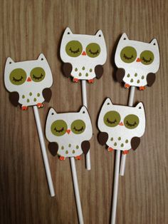 Set Of 12 Snow Owl Cupcake Toppers,Birthday,Baby Shower,Forest Friends,Fox,Fawn, Owl,Squirrel,Raccoon,Skunk,Hedgehog,Beaver. $11.99, via Etsy.
