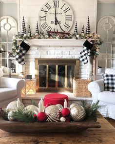 Hi friends! Im so glad overall I've kept Christmas decor simple this season. I have mostly used what I already had on hand and have swapped… Living Room Clocks, Living Room With Fireplace, Living Room Furniture, Living Room Decor, Living Rooms, White Fireplace, Fireplace Design, Fireplace Ideas, Gas Fireplace