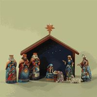 Set the season in motion with a nostalgic Nativity Scene. This beautiful set is perfect for families with young children, newlyweds, or for those looking to change up their set.  The figurines of the wise men, baby, Mary and Joseph, shepherd and sheep with a manger backdrop paints sweet picture for telling the story of Christmas.