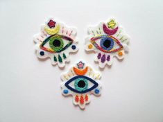 Your place to buy and sell all things handmade Felt Brooch, Eye Frames, Sew On Patches, Evil Eye, Green Eyes, Hand Stitching, Wool Blend, Eye Candy, Handmade Items