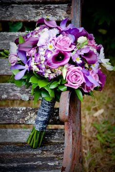 Elegant Fall Garden, Modern, Green, Purple Silver Bouquet Wedding Flowers
