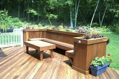 Deck bench with planters