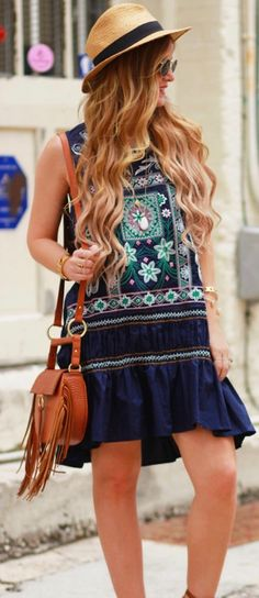 >> Boho Summer Dress 2018 ⭐️⭐️⭐️⭐️⭐️ A Geometric Embroidery Dress now available at Pasaboho. This blue dress exhibit brilliant design with gorgeous embroidered patterns. Suitable for a casual day out or street style fashion lookbook. Trending Boho dress ideas featuring high street fashion inspiration. #Pasaboho