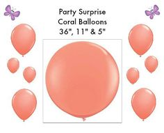 Coral Balloons 36 11 and 5 wedding bridal shower by PartySurprise