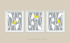Gingko Flowers with Birds Abstract Art Print Set of (3) 5 x 7, 8 x 10 OR 11 x 14 // Grey Yellow White // Bedroom, Bathroom, Home Decor