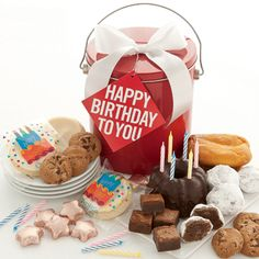 Birthday Goodie Pail    Our bright red party pail is overflowing with a Miss Grace chocolate gracelet cake complete with candles, a mini lemon tea cake and a yummy chocolate truffle cookies! We've also included mini fudge brownies, crunchy chocolate chip cookies, chocolate stars, buttercream frosted birthday cut-out cookies and a cheerful Happy Birthday hangtag. 20 pieces.  $29.99
