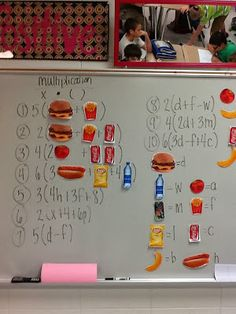 Introducing variables with pictures. Great way to make algebraic thinking more concrete.