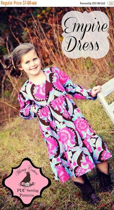35% SALE Empire Dress Pattern for girls by Whimsy by whimsycouture