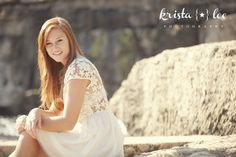 Rock bluff / waterfall for a senior session! Photography by Krista Lee / www.kristaleephotography.com