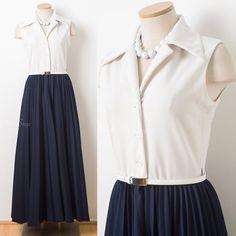 Vintage 60s Maxi Dress, Men Men Dress, Vintage Maxi Dress, Vintage Blue Dress, Vintage Formal dress, two tone dress, pleated dress - S