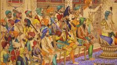 "sikhknowledge: "" An original painting from the times of Maharaja Ranjit Singh depicting Maharaja Ranjit Singh's court in Lahore, Punjab. - Lost Treasures of the Sikh Kingdom """