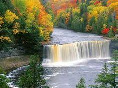 beautiful michigan autumn scenery Taquamenon Falls, near White Fish Point, MI