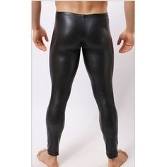 HOT Low-rise Bulge Pouch Night Club Stage Performance Tights  Bodywear Pants Men's Sexy Faux Leather Leggings Black Skin
