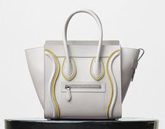 Micro Luggage Handbag in Chalk Smooth Calfskin and Felt - Céline c27a13892fc