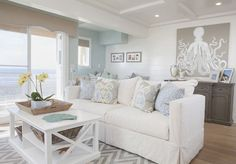 Living Room decor ideas - Beach, coastal style living room with white, grey and aqua color palette. AGK Design Studio | House of Turquoise | Bloglovin'