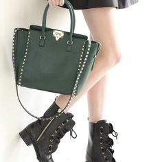 #Valentino #bag & studded #boots