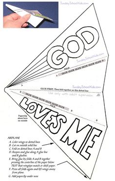 Paper airplane, God loves me: A- Accept . Sunday School Crafts For Kids, Bible School Crafts, Sunday School Activities, Preschool Bible, Bible Activities, Church Activities, Kids Sunday School Lessons, Everyday Activities, Christian Crafts