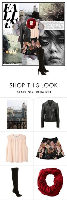 """""""Fall In"""" by lifestyle-ala-grace ❤ liked on Polyvore featuring KENNY, Versace, Monki, Ted Baker, Gianvito Rossi and Gabriella Rocha"""