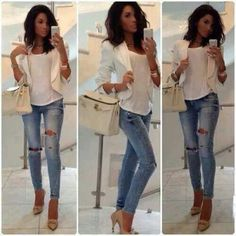 Ripped jeans/white/layering
