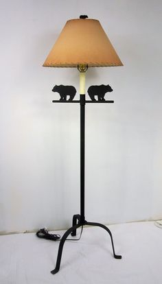 Shady Lady Rustic Adirondack Lodge Cabin Black Steel Bear Floor Lamp ShadyLady