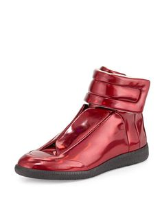 Future Leather High-Top Sneaker, Metallic Red by Maison Margiela at Neiman Marcus.