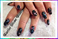 Acrylic nails with @Klean Color - Black and Love madness from the 3D range.