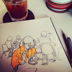 pen - drawing - pen and ink - watercolour - watercolor - sketch - sketching - sketchbook - cafe