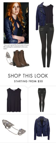 """""""Clary Fray - shadowhunters"""" by shadyannon ❤ liked on Polyvore featuring T By Alexander Wang, Topshop, Arthur Marder Fine Jewelry, BCBGMAXAZRIA and Timberland"""