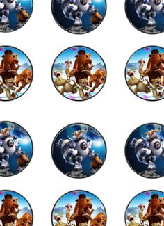 FREE Ice Age Birthday party Printable cupcake toppers, banner, water bottle labels files