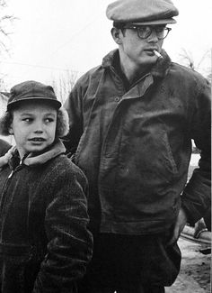 """ James Dean and his cousin Marcus photographed by Dennis Stock, 1955. """