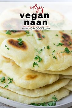 Easy vegan naan- soft, fluffy flatbread perfect for serving alongside Indian inspired dishes or even using as a wrap or pizza crust. Only 7 ingredients and easy to make! Vegan Foods, Vegan Dishes, Vegan Recipes, Cooking Recipes, Vegan Flatbread Recipes, Flatbread Pizza, Naan Bread Recipe Easy, Recipes With Naan Bread, Vegan Naan
