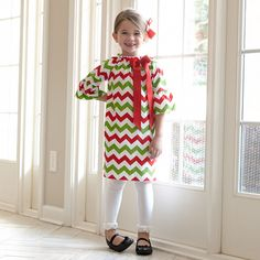 Girls Christmas Chevron Charlotte Dress