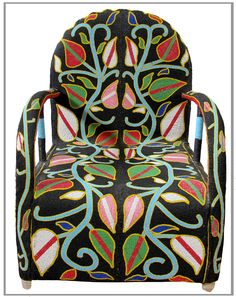 Yoruba West African Beaded Chair: Front Profile.   We Deliver Worldwide. Order now by writing to us on Facebook or e-mailing sales@annatrzebinski.com.  For further information about our products, studio and upcoming trunk shows please feel free to contact us.
