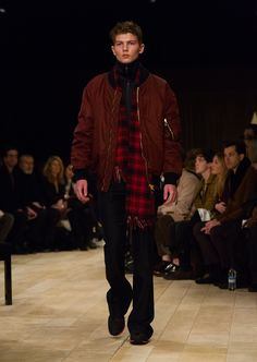 Elderberry bomber jacket with wide-leg trousers and a cashmere check scarf