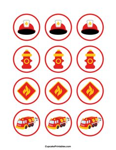 Fire truck cupcake toppers. Use the circles for cupcakes, party favor tags, and…