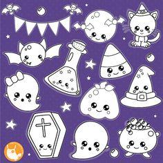 80% OFF SALE Halloween kawaii digital stamp by Prettygrafikdesign