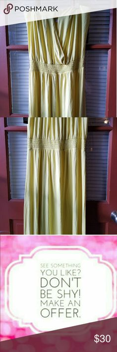 New York & Company strapless yellow maxi dress 14 and a half inches underarm to underarm ?elastic around the back  52 inches under arm to hem  dress newyorkandcompany  size large  yellow  sexy opening in the front 95% rayon 5% spandex New York & Company Dresses Maxi