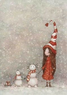 Pupazzi di neve, Christmas illustration, snowman, little girl, sled,