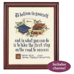 The Graduate Believe in Yourself Counted Cross Stitch Kit - Cross Stitch, Needlepoint, Embroidery Kits – Tools and Supplies