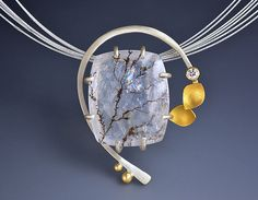 Stunning pendant that will catch everyones attention. Diamond Arc Pendant by Judith Neugebauer: Gold, Silver, & Stone Necklace available at www.artfulhome.com