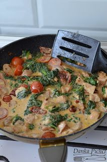 Spaghetti z kurczakiem, szpinakiem i suszonymi pomidorami - Danka Pichci Quiche, Spaghetti, Breakfast, Kitchen, Food, Morning Coffee, Cooking, Kitchens, Essen