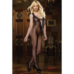Salaciously Sexy Lace Bodystocking, Front Embellished With Bow & Keyhole Detail #sexy #lingerie #hot  #black #body #stockings