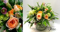 peach, pink, green and white spring flower arrangement with garden roses, hydrangea and ferns | floral design: brown and greene