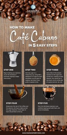 How to Make Café Cubano in Five Easy Steps Step One: Begin brewing your espresso, as per the stovetop or automatic espresso maker instructions. Step Two: Add raw sugar to a measuring cup, using half a tablespoon of sugar for each demitasse cup you plan on making. Use more, if you prefer a sweeter drink. Step Three: Add a little of the brewed espresso to the sugar and quickly stir, creating a frothy espuma. You cannot stir it too much, so err on the side of caution and stir, stir, stir. Step…