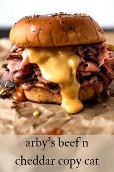 Razor thin shaved roast beef, with signature tangy Arby's sauce and Arby's cheddar cheese sauce, piled onto an onion brioche bun. Arby's Beef And Cheddar Recipe, Roast Beef And Cheddar, Cheddar Cheese Sauce, Cheese Food, Arbys Roast Beef Sandwich, Roast Beef Sandwiches, Arbys Roast Beef Recipe, Steak Sandwich Recipes, Roast Beef Recipes